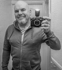 Selfie, camera included. . . (CWhatPhotos) Tags: cwhatphotos camera photographs photograph pics pictures pic picture image images foto fotos photography artistic that have which contain digital olympus four thirds omd em1 mkll self selfie selfee me man male goatee mirror mirrored reflection look pose portrait poser hoody with included bald baldy flickr