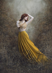 Elyse ({jessica drossin}) Tags: jessicadrossin portrait person woman female dress gold yellow mustard face hair red head pretty lost dream surreal fantasy art portraiture wwwjessicadrossincom