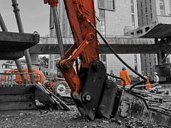 Enter the Terminator (Towner Images) Tags: liverpool concrete architecture flyover bridge building construction demolition deconstruction terminator plant towner selective orange workmen contractor team crew engineering structure city