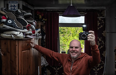 Selfie, camera included. . . and the Converse. . . (CWhatPhotos) Tags: cwhatphotos camera photographs photograph pics pictures pic picture image images foto fotos photography artistic that have which contain digital olympus four thirds omd em1 mkll self selfie selfee me man male goatee mirror mirrored reflection look pose portrait poser hoody with included converse all stars star chucks collection shoes boots boot many