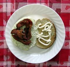 Bacon and Egg Sandwich (genesee_metcalfs) Tags: food breakfast bacon eggs rye horseradishsauce