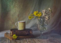 Bouquet blanco y amarillo (saparmo) Tags: bouquet floresprimaverales floressilvestres floresblancas tazadete cup vase teacup oldbook libros viejos vintage