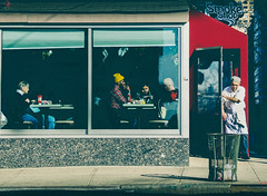Social Alienation Deconstructed (Creekside Photog) Tags: diner nyc hellskitchen social alienation woman alone people together talking chef leaving job