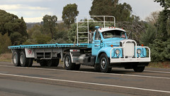 Blue Brothers (1 of 2) (Jungle Jack Movements (ferroequinologist) all righ) Tags: light blue mack r600 b61 thermodyne b613s yass hume highway freeway melbourne sydney haulin hauling veteran vintage classic history historical hp horsepower big rig haul freight cabover trucker drive transport carry delivery bulk lorry hgv wagon road nose semi trailer deliver cargo interstate articulated vehicle load freighter ship move motor engine power teamster truck tractor prime mover diesel injected driver cab cabin loud wheel exhaust double b australia australian