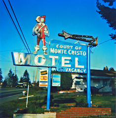 Court of Monte Cristo Motel - Highway 99 - Washington State (Electric Crayon) Tags: courtofmontecristo sign neon pacificnorthwest washingtonstate snohomishcounty lynnwood usa unitedstates america motel vintage highway99 polaroid sx70 timezero 1990s roadside analog flatbedscan electriccrayon patrickmcmanus