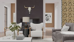 Jack Hanby Interiors - Client; Jax Aster (Jack Hanby -) Tags: life modern living interiors second wood house home leather forest skull cabin fireplace paint fresh hues walls accents styling stylish fall apple remote lush trompe