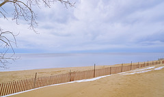 025627a   Stormy Weather (David G. Hoffman) Tags: lake lakeshore lakemichigan beach fence winter snow clouds