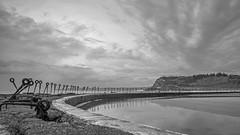 Canoe Pool sky (OzzRod) Tags: pentax k1 supertakumar35mmf35 bathing seaside canoepool fence headland clouds newcastle australia monochrome blackandwhite dailyinfebruary2020