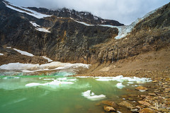Icewater in the Canadian Rockies (RobertCross1 (off and on)) Tags: a7rii alberta alpha angelglacier canada canadianrockies emount fe1635mmf4zaoss ilce7rm2 icefieldsparkway jaspernationalpark mountedithcavell mountainwest sony clouds fullframe glacier hiking ice landscape mirrorless mountains snow