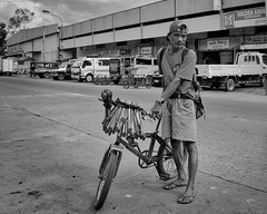 Chisels for sale. (Beegee49) Tags: street people man bicycle chisels selling blackandwhite sony monochrome a6000 bw bacolod city philippines asia