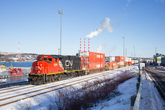 At the HIT Eh? - Halifax, NS (CWentzell Photography) Tags: cn canadiannational railroad rials rail rails railway freight train intermodal domestic container containers canada novascotia emd hit deepwaterspur january 2020 canon canon6d canon40mm halifax africville
