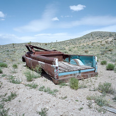 flipped and flattened. goldfield, nv. 2016. (eyetwist) Tags: eyetwistkevinballuff eyetwist pickup truck rusty wrecked flat abandoned landscape goldfield nevada gold mine lonely desolate roadtrip film 6x6 120 mamiya 6mf 50mm portra 160 mamiya6mf mamiya50mmf4l kodakportra160 ishootkodak ishootfilm analog analogue emulsion mamiya6 square mediumformat primes filmexif iconla epsonv750pro lenstagger highdesert americantypologies desert west rural mojavedesert land earth badlands bulletholes shot cab flip rolled rust patina