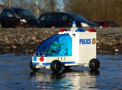 Police Rover - Febrovery 2020-06 (captain_j03) Tags: toy spielzeug 365toyproject lego minifigure minifig moc febrovery space rover car auto police polizei eis ice puddle pfütze