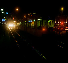Night tram stop (mkk707) Tags: film analog 35mmfilm zeissikontenaxii carlzeissjenatessar204cm kodakcolorplus200 wwwmeinfilmlabde germancameras zeissikonstyle vintagefilmcamera vintagelens manualfocuslens rangefinder nightshot nightonearth nightcolours nightonfilm tram 24x24