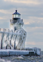Frozen Joseph (Notkalvin) Tags: winter lighthouse cold ice outdoors coast frozen michigan stjoseph lakemichigan iced icy mikekline notkalvin storm nature water beautiful crazy waves thankyou explore flickrexplore explored