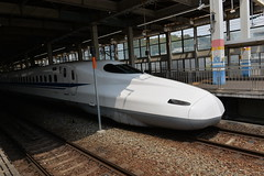 My 2nd Shinkansen ride- this time from Osaka to Hiroshima (shankar s.) Tags: eastasia japan landoftherisingsun nippon nihon hiroshima shinosakastation japanpublictransport shinkansen bullettrain highspeedintercityexpresstrain electricrailcartrain electricmultipleunit tokaidosanyoshinkansen japanrailwaysgroup jr nozomirapidexpress n700series railwayplatform railroadplatform barriers shinkansentraincar drivingtrailer businessend