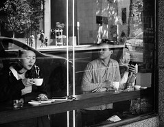 Coffee Shop Days (McLovin 2.0) Tags: street streetphotography candid people window shop coffee urban city melbourne reflections sony a7s 55mm zeiss bw monochrome explore explored