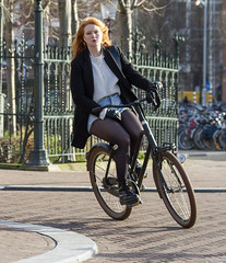 the corner (Henk Overbeeke Atelier54) Tags: girl street candid longhair bike bicycle bicicletta fiets fahrrad vélo miniskirt nylons boots drmartens
