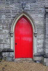red door (majka44) Tags: detail red door facade travel church architecture building lamp wall stone face
