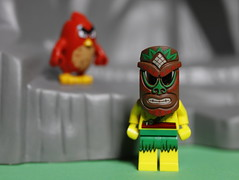 The Islander and an Angry Bird (DayBreak.Images) Tags: tabletop toys lego minifigures mask islander red angrybird canondslr canoneflens ringlight cpl