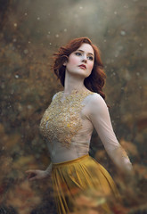 Elyse 2 ({jessica drossin}) Tags: jessicadrossin portrait face redhair redhead yellow gold dress grass bokeh wwwjessicadrossincom