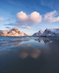 Symmetry (kaxelsenfoto) Tags: snowcapped nature landscape outdoors mountains scenery skagsanden lofoten sonya7rii reflections vinter winter