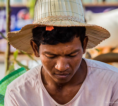 2019 - Cambodia - Kampong Louang - 13 (Ted's photos - For Me & You) Tags: 2019 avalonwaterways cambodia cropped konponglouang nikon nikond750 nikonfx tedmcgrath tedsphotos tonlesapriver vignetting male man handsome handsomeman hat strawhat nose lips shallowdof face boy head neck tshirt 1people neckline