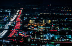 the well traveled eastern road (pbo31) Tags: california nikon d810 color february 2020 boury pbo31 dublin eastbay alamedacounty over night dark traffic roadway lightstream highway 580 black infinity exchange 680 pleasanton red