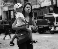 Mother and Child (Beegee49) Tags: street people mother child smiling blackandwhite monochrome sony a6000 bw bacolod city philippines asia