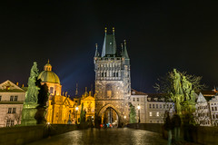 Charles Bridge (Karluv Most), statues and tower at night (wounderful0) Tags: bridge view charlesbridge karluvmost cityscape landscape night evening prague czech church popular famous dark illumination romantic empty tourism tourist travel destination holiday architecture building street city old urban town europe twilight stone historic background landmark gothic medieval culture illuminated history ancient czechrepublic capital tower light sculptures streetlights streetlamps scenic statues