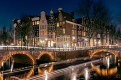 Amsterdam by night. (Luca Livio) Tags: x100f fuji light city citycenter dusk canal night longexposure europe netherlands amsterdam