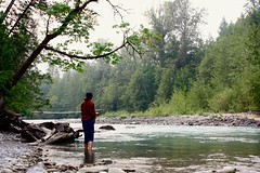 Fishing in BC (joannefunke) Tags: nature naturalworld natural plants earth green leaves color colorful garden raindrops waterdroplets droplets macro world outside britishcolumbia water lake river greenwater rocks canoeing landscape people fishing girl explore travel