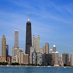 Chicago, Illinois, USA (pom'.) Tags: canoneos400ddigital fromamovingvehicle chicago illinois usa lakemichigan skyline skyscrapers
