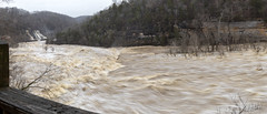 Caney Fork River, Rock Island State Park, Warren County, Tennessee 1 (Chuck Sutherland) Tags: caneyforkriver river creek stream water flood flooding rockislandstatepark rockisland statepark risp sp warrencounty whitecounty tennessee tn twinfalls waterfall falls panorama