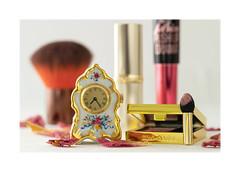 If I could turn back time... (Explored) (hehaden) Tags: brush lipstick mascara eyeshadow applicator petals clock miniature macro lookingcloseonfriday makeup