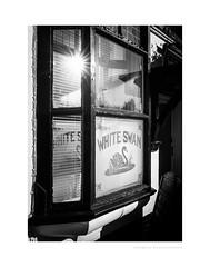 The White Swan (G. Postlethwaite esq.) Tags: bw derby derbyshire fujix100t littleover blackandwhite boozer monochrome pub sign wateringhole window