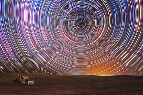 Star trails over an abandoned farmhouse - Boddington, Western Australia