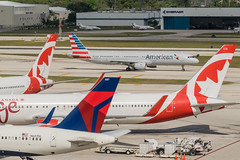 19-486 (George Hamlin) Tags: florida ft fort lauderdale international airport fll airlines delta air canada american boeing 767 airbus a321 757 aircraft group airliner airplane jet narrowbody widebody taxiway hangar photodecor george hamlin photography
