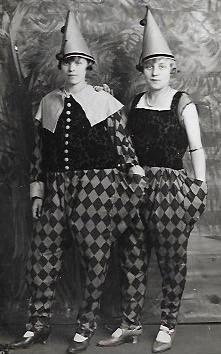 Two ladies dressed as pierrot