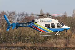 G-RIDB - 2012 build Bell 429 Global Ranger, backtracking Runway 26R on arrival at Barton (egcc) Tags: 57105 barton bell bell429 cityairport egcb gridb globalranger helicopter lightroom manchester nationalgrid okbhx