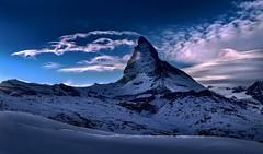 Matterhorn (sylviafurrer) Tags: berg matterhorn mountain snow schnee wallis valais cervin wolken wolkenstimmung clouds dusk twilight eveninglight abendstimmung abenddämmerung switz landscape winter blau blue switzerland white weiss nature
