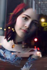 City Lights ({jessica drossin}) Tags: woman jessicadrossin portrait face reflections lights bokeh city urban traffic window glass beautiful redhair redhead eyes wwwjessicadrossincom