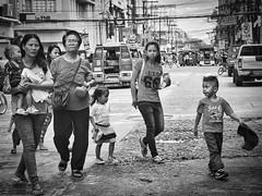 Family shopping (Beegee49) Tags: street people children women family blackandwhite monochrome sony a6000 bw filipina bacolod city philippines asia