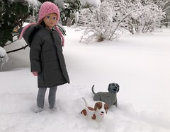 Out in the snow (Foxy Belle) Tags: snow winter trees toys mattel dog poseable 1980s barbie skipper vintage knit hat modern clothes coat