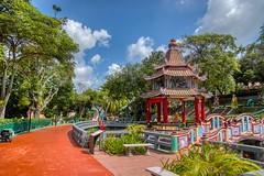 Chinese pavilion in Haw Par villa in Singapore (UweBKK (α 77 on )) Tags: singapore southeast asia sony alpha 77 slt dslr city urban chinese pavilion hawpar haw par villa park garden pond bridge tree