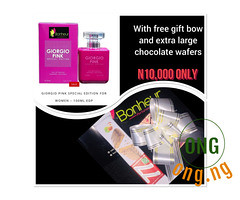 GIORGIO PINK 100ml +GIFT BOW+EXTRA LARGE CHOCOLATE WAFERS (omoresther2008) Tags: olx nigeria olxnigeria nig abuja lagos phones sell buy online