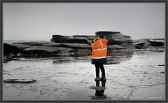 Teresa in the Rain (itsallgoodamanda) Tags: teresa lady photographer ocean rain rainyday dolphinpoint shoalhaven sea seascape southcoast seascapephotography seaside orangejacket overcast greyday photography photoborder itsallgoodamanda jervisbayphotography amandarainphotography australia australianphotography australiassouthcoast australianlandscape
