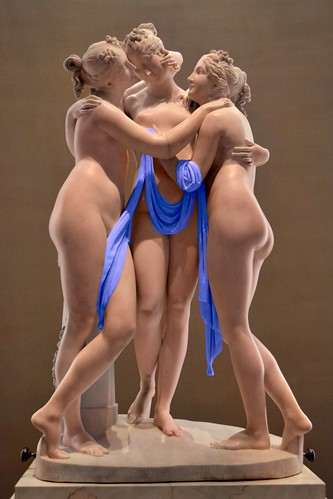 Antonio Canova (1757-1822) - The Three Graces, Woburn Abbey version (1814-1817) front close up, Victoria and Albert Museum, August 2013 (Pygmalion effect with manually coloured drapery)