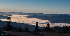 Walking above the clouds (Irina1010) Tags: morning sunrise sky fog cover valley mountains rims peaks smokymountains clingmandome tennessee landscape person woman walking above light sun altitude canon nature
