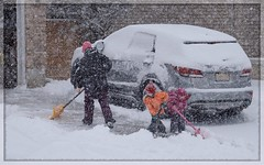 All In The Family (Note-ables by Lynn) Tags: family people snow winter shovelling